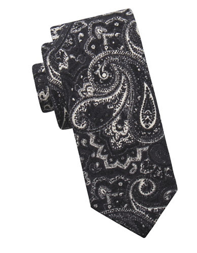 Ben Sherman Paisley Wool Tie-BLACK-One Size