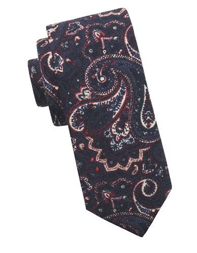 Ben Sherman Paisley Wool Tie-NAVY-One Size
