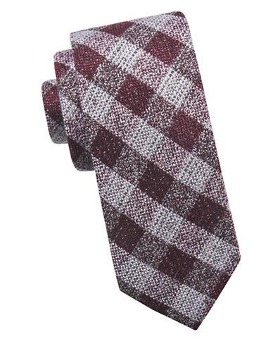 Ben Sherman Checkered Silk Tie-WINE-One Size