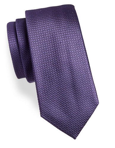 Black Brown 1826 Floral Silk Tie-PURPLE-One Size