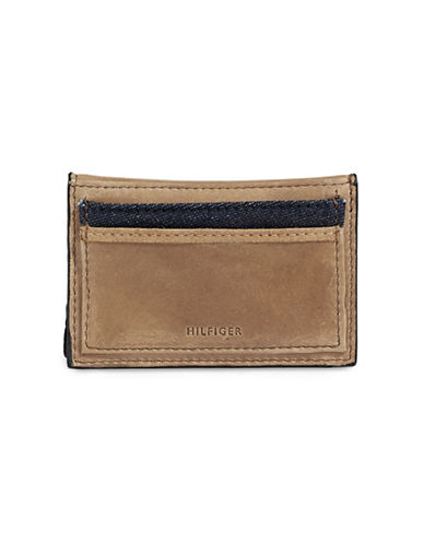 Tommy Hilfiger Denim and Leather Mini Wallet-BEIGE-One Size