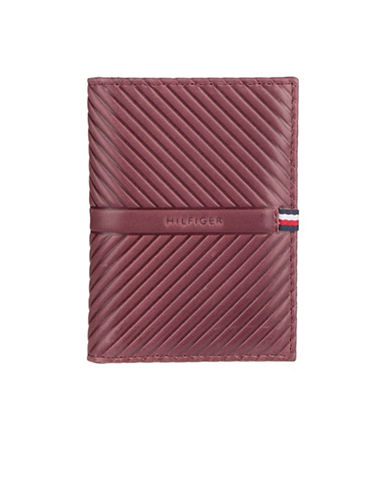 Tommy Hilfiger Embossed Leather Checkbook Wallet-RED-One Size
