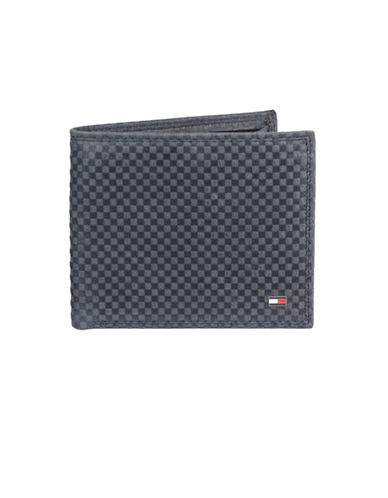 Tommy Hilfiger Leather Checkered Bifold Wallet-NAVY-One Size