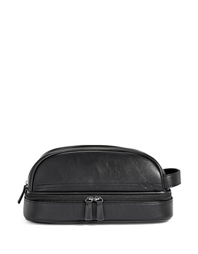 Dockers Leather Top Bottom Zip Pouch-BLACK-One Size