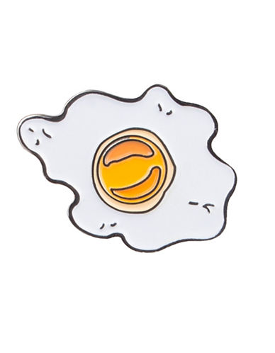 Pins Fried Egg Pin-WHITE-One Size