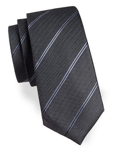 Black Brown 1826 Width Striped Silk Tie-BLACK-One Size