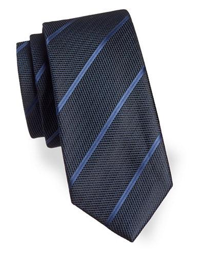 Black Brown 1826 Width Striped Silk Tie-NAVY-One Size