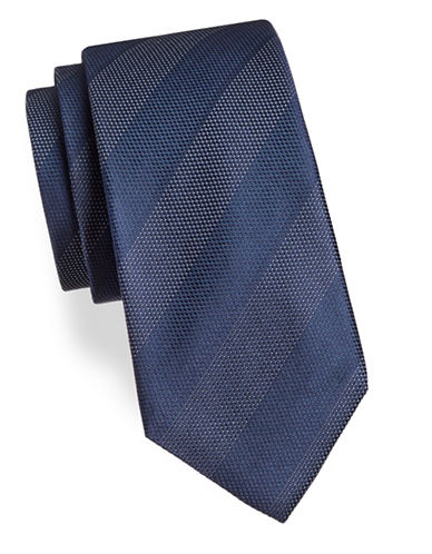 Black Brown 1826 Stripe Silk Tie-BLUE-One Size