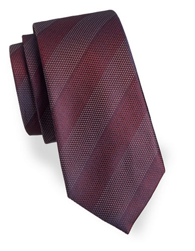 Black Brown 1826 Stripe Silk Tie-RED-One Size