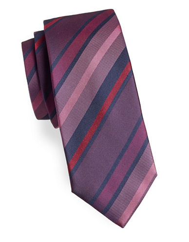 Black Brown 1826 Stripe Silk Tie-PURPLE-One Size