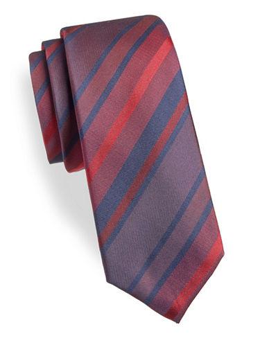 Black Brown 1826 Stripe Silk Tie-RED-One Size