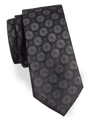 Black Brown 1826 Medallion Silk Tie-BLACK-One Size