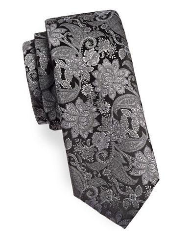 Black Brown 1826 Paisley Silk Tie-BLACK-One Size