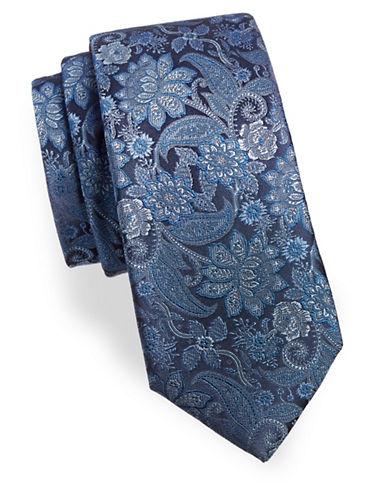 Black Brown 1826 Paisley Silk Tie-BLUE-One Size