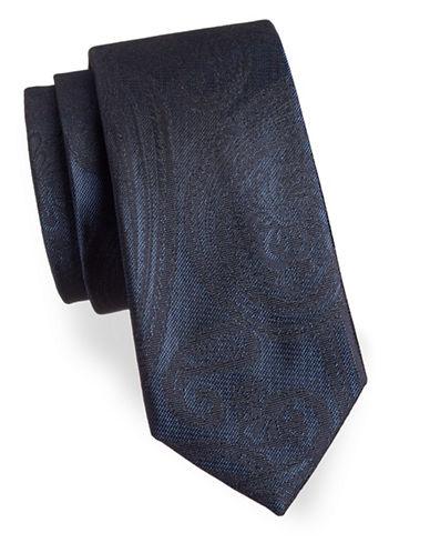 Black Brown 1826 Width Paisley Silk Tie-NAVY-One Size