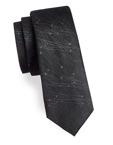 Black Brown 1826 Abstract Print Silk Tie-BLACK-One Size