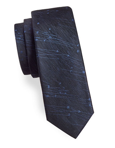 Black Brown 1826 Abstract Print Silk Tie-NAVY-One Size