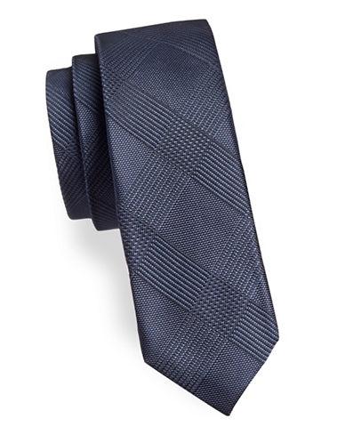 Black Brown 1826 Checkered Silk Tie-NAVY-One Size