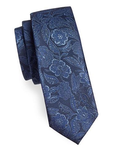 Black Brown 1826 Floral Silk Tie-NAVY-One Size
