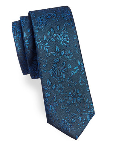 Black Brown 1826 Floral and Leaf Silk Tie-BLUE-One Size