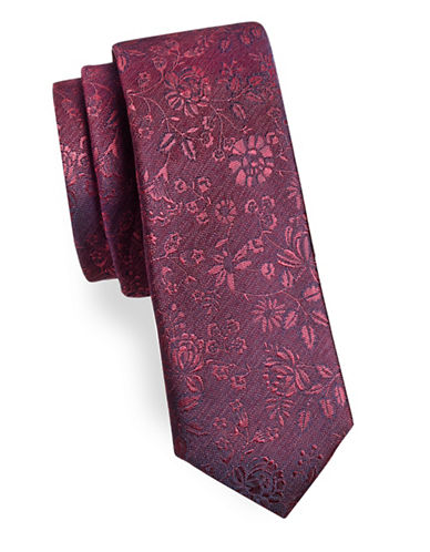 Black Brown 1826 Floral and Leaf Silk Tie-PURPLE-One Size