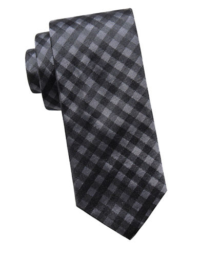 Ben Sherman Slim Silk Check Tie-BLACK-One Size