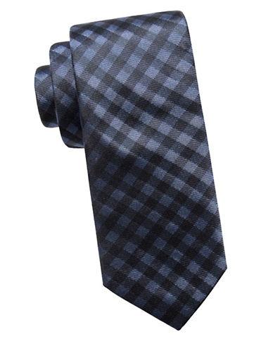 Ben Sherman Slim Silk Check Tie-NAVY-One Size