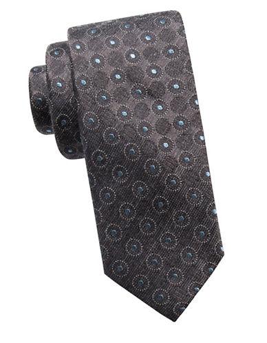 Ben Sherman Slim Silk-Blend Medallion Tie-GREY-One Size