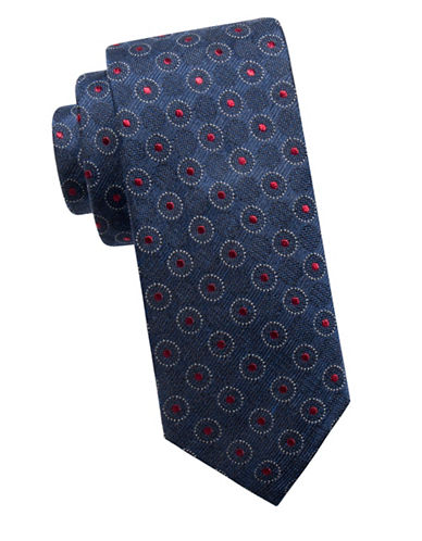 Ben Sherman Slim Silk-Blend Medallion Tie-NAVY/RED-One Size