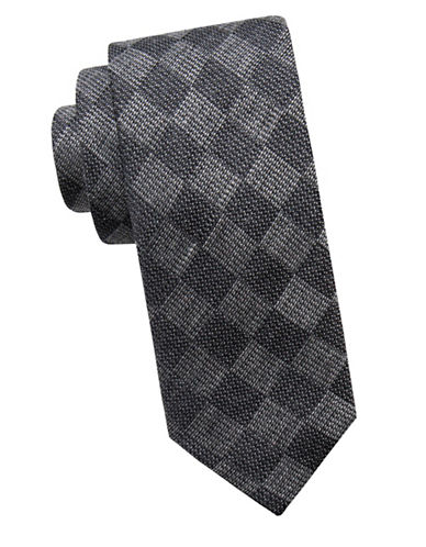 Ben Sherman Slim Silk-Blend Check Tie-BLACK-One Size