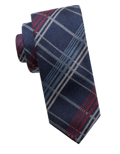 Ben Sherman Slim Silk-Wool Grid Tie-NAVY/RED-One Size