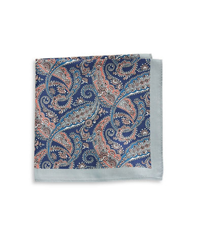 Black Brown 1826 Paisley Silk Pocket Square-GREY-One Size