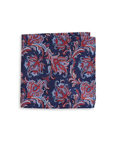 Black Brown 1826 Paisley-Print Silk Pocket Square-NAVY-One Size