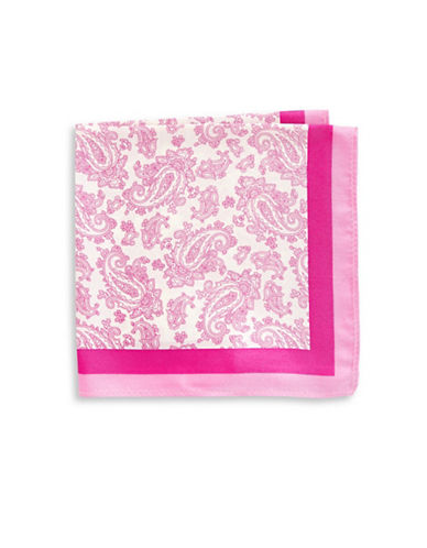 Black Brown 1826 Paisley-Print Silk Pocket Square-PINK-One Size