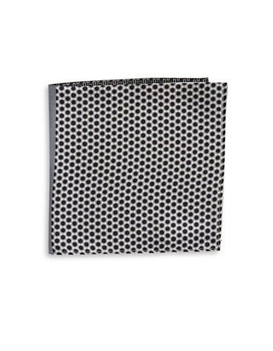 Black Brown 1826 Blocked Mixed-Print Silk Pocket Square-BLACK-One Size