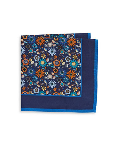Black Brown 1826 Floral-Print Silk Pocket Square-NAVY-One Size