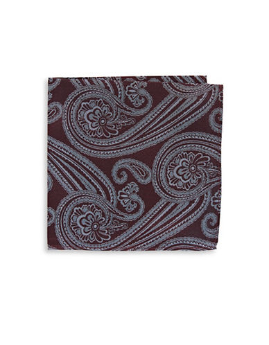 Black Brown 1826 Paisley Silk Pocket Square-RED-One Size