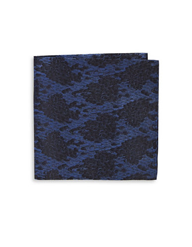 Black Brown 1826 Snake-Print Silk Pocket Square-NAVY-One Size