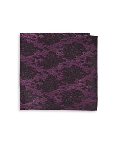 Black Brown 1826 Snake-Print Silk Pocket Square-PURPLE-One Size
