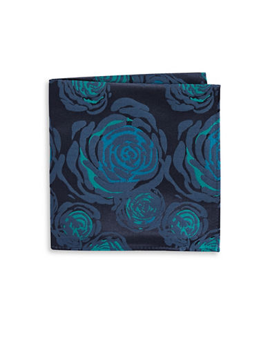 Black Brown 1826 Floral-Print Silk Pocket Square-GREEN-One Size