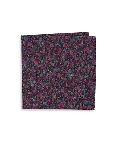 Black Brown 1826 Floral-Print Silk Pocket Square-PURPLE-One Size