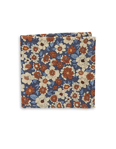 Black Brown 1826 Floral Pocket Square-BROWN-One Size