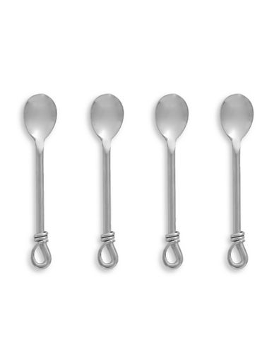 Gourmet Settings Four-Piece Mini Twist Demitasse Spoons-SILVER-One Size