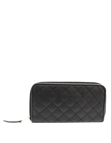 Ashlin Quilted Tuscany Leather Clutch Wallet-BLACK-One Size