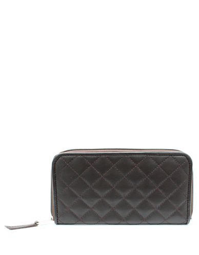Ashlin Quilted Tuscany Leather Clutch Wallet-BROWN-One Size