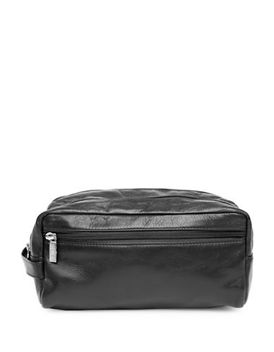 Ashlin Solomon Double Section Toiletry Leather Bag-BLACK-One Size