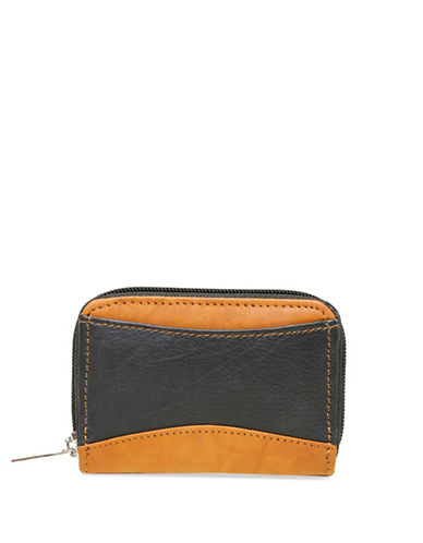 Ashlin Akelina Two-Tone Leather Accordion Card Case-BLACK-One Size
