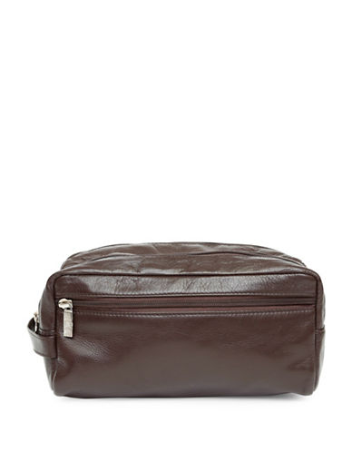 Ashlin Solomon Double Section Toiletry Leather Bag-CHOCOLATE-One Size