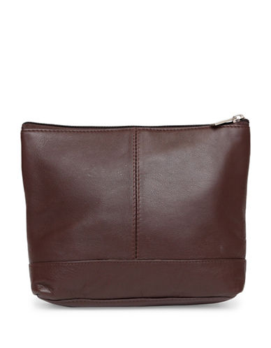 Ashlin Giselle Mid-Sized Utility Cosmetic Leather Bag-CHOCOLATE-One Size