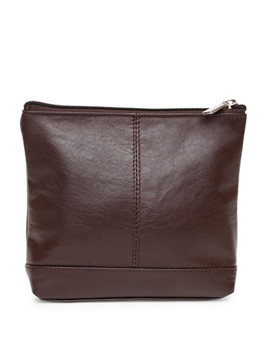 Ashlin Ryleigh Large Utility Cosmetic Leather Bag-CHOCOLATE-One Size